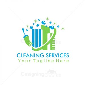 Building cleaning services logo design