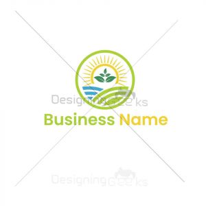 Agriculture field and sun logo vector
